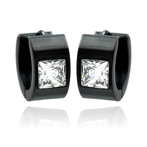 Stainless Steel Black Rhodium Plated Princess Cut